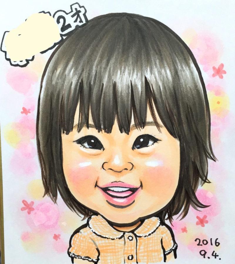娘の2歳の誕生日記念に小さいサイズの色紙で