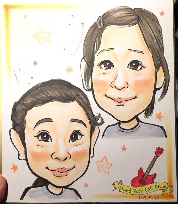 ハードロックカフェ大阪で描いた似顔絵
